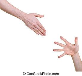 mão, oferecendo, ajuda, para, outro, isolado, branco, fundo