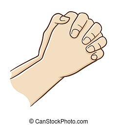 mão, orando, dois, firmemente, fechado