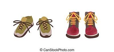 mão, outono, vista, elegante, estilo, sapatos, dois, isolado, caricatura, vetorial, calçado, illustration., casual, coloridos, par, aquarela, white., desenhado, frente, sazonal, apartamento, sneakers, botas