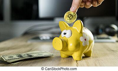 mão, pôr, dourado, bitcoin, em, para, cofre, caixa dinheiro, com, um, computador, ligado, experiência., cryptocurrency, investimento, concept., btc, moeda, como, símbolo, de, eletrônico, virtual, dinheiro., teia, operação bancária, rede, payment.
