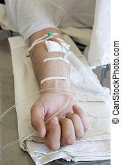 mão, paciente, fim, injeção, intravenous, cima