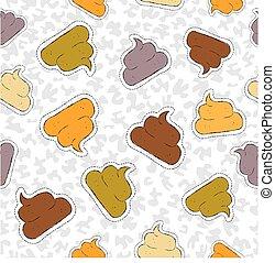 mão, padrão, engraçado, remendo, ícone, desenhado, poop, seamless