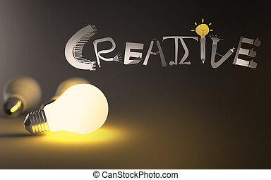 mão, palavra, 3d, desenhado, bulbo, criativo, luz, projeto gráfico, conceito