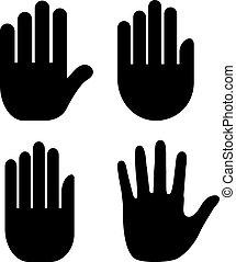 mão, palma, ícone