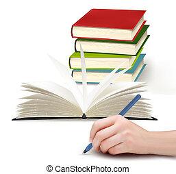 mão, papel, caneta, escrita