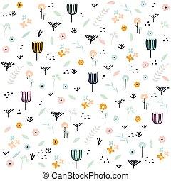 mão, pastel, vetorial, cute, illustration., floral, desenhado, pattern.