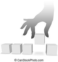mão, picos, um, de, um, seleção, de, cinco, copyspaces