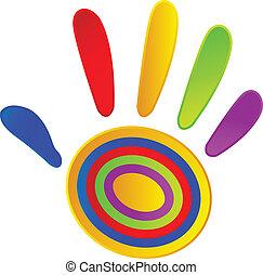 mão, pintado, com, vívido, cores