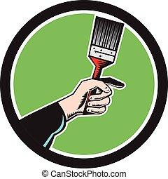 mão, pintor,  retro, segurando, círculo, Pincel