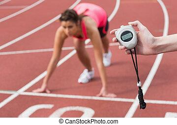 mão, pista, cronometrando, mulher, funcionar corredor