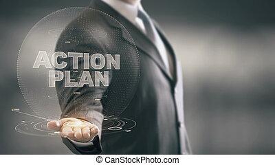 mão, plano, segurando, homem negócios, ação, novo, tecnologias