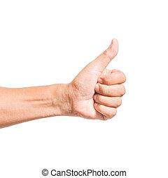 mão, polegar cima, semelhante, conceito, isolado
