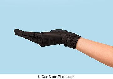 mão, produto, escarneça, experiência., anunciando, luva, seu, inserção, médico, objeto, cima, lata, pretas, azul, tu, segura