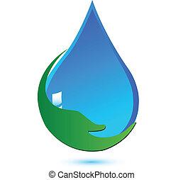mão, proteja, água, logotipo, conceito