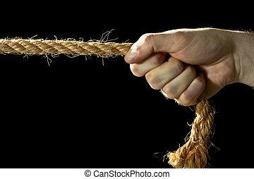 mão, puxando, um, corda