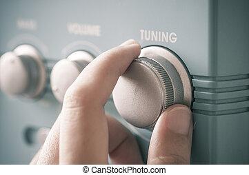 mão, rádio, fm, afinando