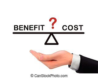 mão, realístico, benefício, custo, segurando, entre, ...