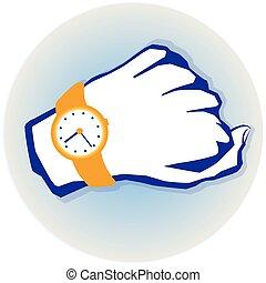 mão, relógio
