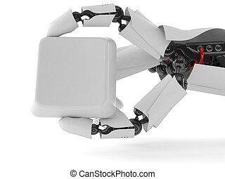 mão, robô, tecla, teclado