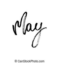 mão, sazonal, lettering, desenhado