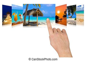 mão, scrolling, verão, praia, imagens