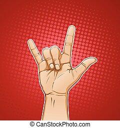 mão, sinal metal