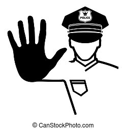 mão, sinal parada, por, um, policia