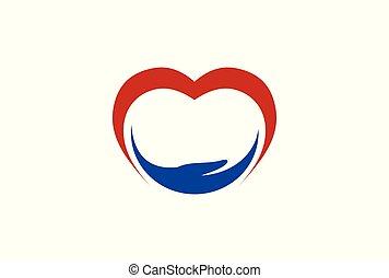 mão, sumário amor, logotipo