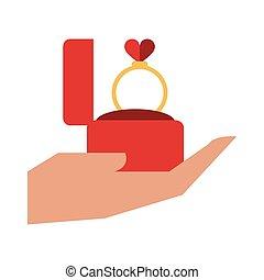 mão, ter, obrigação, caixa, com, anel