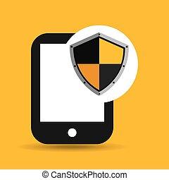 mão, ter, smartphone, proteção, escudo