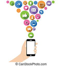 mão, ter, telefone, com, ícones