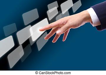 mão, tocar, botão