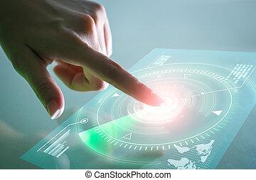 mão, tocar, dados, screen., futurista, tecnologia, concept.