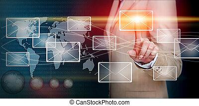mão, tocar, email, com, dedo