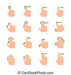 mão, toque, gestos, ícones, jogo