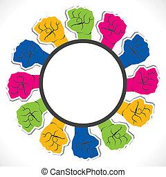 mão, unidade, etiqueta, fechado, mostrar