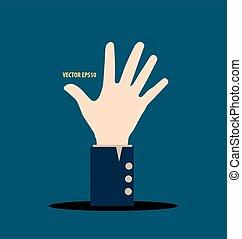 mão., vetorial, illustration.