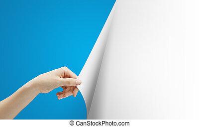mão, voltas, azul, página