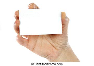 mão, whit, um, cartão