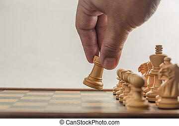 mão, xadrez, fundo, junta branca