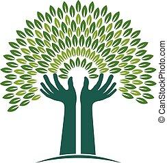 mãos, árvore, de, fé, logo., vetorial, gráfico, ilustração