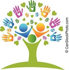 mãos, árvore, logotipo, corações, figuras
