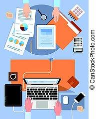 mãos, ângulo, negócio, trabalhe pessoas, laptop, tabuleta, computador, local trabalho, escrivaninha, escritório, vista superior