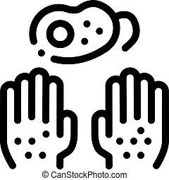 mãos, ícone, bactérias, esboço, sujo, ilustração