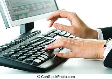 mãos, a, teclado