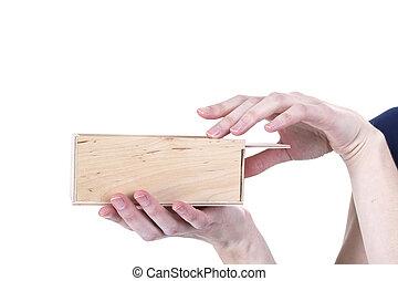 mãos, abertura, caixa