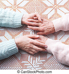 mãos ajuda, cuidado, a, idoso, conceito