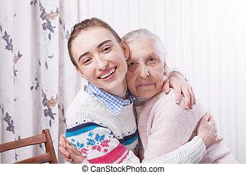 mãos ajuda, cuidado, a, idoso, concept., sênior, e, caregiver, segurar passa, casa