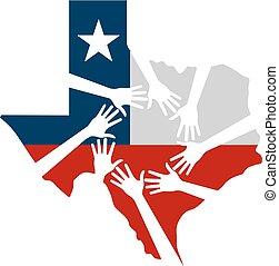 mãos, ajudando, texas, vetorial, ilustração