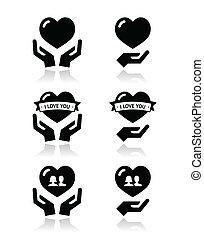 mãos, ame coração, ícones